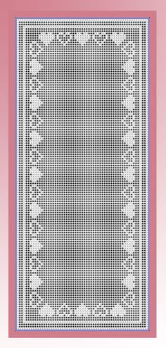 Crochet pattern for a filet Valentine runner featuring a heart border Crochet Patterns Filet, Crochet Table Runner Pattern, Crochet Doily Diagram, Crochet Doilies, Thread Crochet, Crochet Stitches, Swedish Embroidery, Crochet Simple, Fillet Crochet