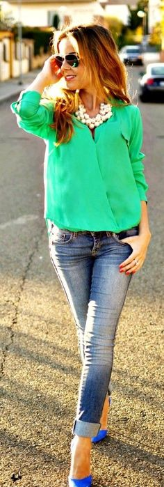 Women's Cute Clothing for 2015 St. Patrick's Day - St. Patrick's Day Outfit, Green Blouse - My Closet by HannahBanana4262 - blouses, ideas, cute, simple, pink, chic blouse *ad