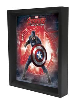 'Captain America - Age of Ultron - Logo' 3D Framed Graphic Art on Wrapped Canvas