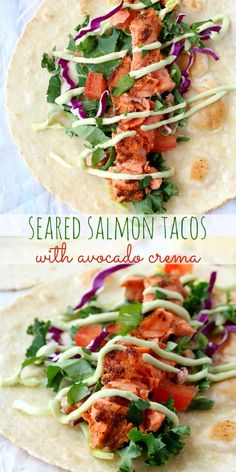 These seared salmon tacos are so easy and bursting with flavor- the perfect twist on the original fish taco recipe!