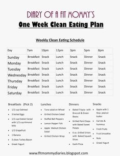 Diary of a Fit Mommy's One Week Clean Eating Plan by Lynnsy