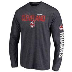 Men's Cleveland Indians Navy Loyalty Clean Color Logo Long Sleeve Tri-Blend T-Shirt | MLBShop.com
