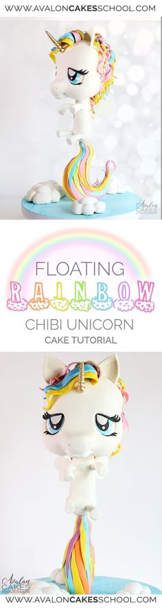 Learn how to make the Unicorn Cake! Unicorns are on trend for one of the biggest birthday themes this year! Learn how to make this Chibi style floating Unicorn cake only on Avalon Cakes School. Cake decorating online! http://www.avaloncakesschool.com