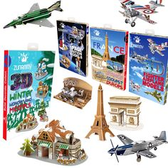 Create your own adventure! Assemble an International Team of Fighter Planes, Blast off to Outer Space, Take a Tour of France, or Build a Warm Winter Home! Each theme comes with 3 or 4 pop-up projects and each project has approximately 15-30 pieces to build. Fun bedroom decor! Awesome family project! Instructions included. Made of Eco-friendly paper and EPS foam board Easy to insert the parts together. No assembly tools neccessary. Create Your Own Adventure, International Teams, Tours France, Eco Friendly Paper, Gift Registry, 3d Puzzles, Winter House, Awesome Bedrooms, Outer Space