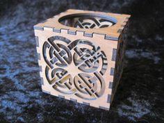 Laser cut tea light candle celtic knot work design. By Micara