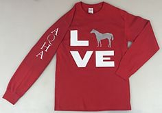 Do you LOVE your American Quarter Horse? Share the love with this cute long sleeve red t-shirt from Quarter Horse Outfitters!