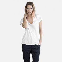 The Cotton U-Neck - Small. White & Gray. Everlane
