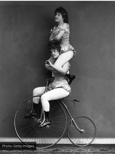 Vintage Photos of Circus Performers from - and bertha newboldt on their penny farthing ,,bertha gets fed up during practise for the wheel of death .betty,could you get off yer ipod and start pedalling again please ,I'm gettin bored up here Old Circus, Circus Acts, Night Circus, Circus Book, Victorian London, Victorian Era, London Pictures, Old Pictures, Circus Pictures