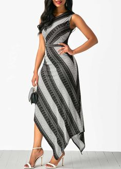 Sleeveless V Neck Printed Asymmetric Hem Dress | Rosewe.com - USD $33.53