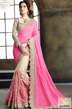#Pink #Beige Color Silk Jacquard Mirror Work Saree For Engagement #sarees…