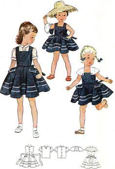 Vintage 1951 Simplicity 3534 Sewing Pattern by SewUniqueClassique Vintage Kids Clothes, Vintage Girls, Vintage Children, Vintage Dresses, Vintage Vogue Patterns, Vintage Street Fashion, Sewing Patterns Girls, Mode Vintage, Vintage Style