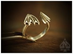 Ring Sterling silver Dragon Bat Wings by MissNebel on Etsy