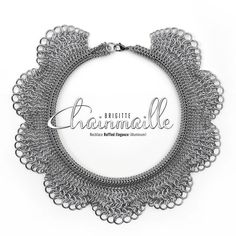 Necklace Ruffled Elegance • Materials: aluminum jump rings, stainless steel lobster clasp • L ±39.50cm x W 4.40cm • Weave: (Graduated) European 4in1, Roundmaille • Created by Brigitte Chainmaille