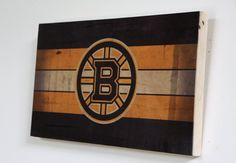 Decorative Wooden Plaque with Boston Bruins Logo - Original Six NHL Team on Wood by WOODSNACKS on Etsy
