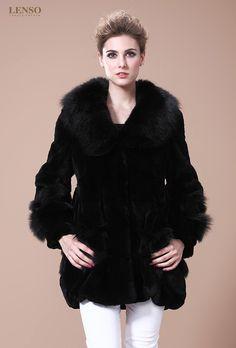 LENSO Women's Rabbit Fur Jackets - Fox Fur Collar | Online LENSO Sale Fur Boutique