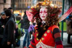 Helsinki, Finland. Opening of Aleksanterinkatu Christmas Street 2013. Photos by artofpics.com #Christmas #Costume #Fairy #Red #Lights