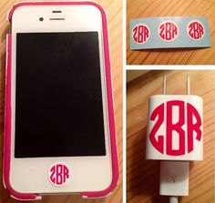 Custom monogram stickers for iPhone buttons and cords. so many colors! And it's super cheap!!