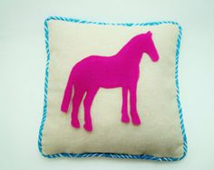 Hot pink Horse Pillow Cover /   Horse /