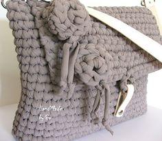 HandMade by Gio: Flower: borsa in fettuccia tortora