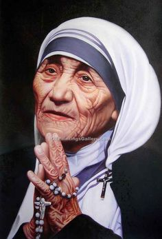 Mother Teresa (Painting ID: Mother Terresa, Freedom Fighters Of India, Saint Teresa Of Calcutta, Mother Teresa Quotes, Christian Images, Beautiful Old Woman, India Art, Portraits, Cute Beauty