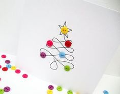 Christmas Card - Christmas Tree with Button Baubles - Paper Handmade Greeting Card - Holiday Card - Etsy UK Weihnachtskarte - . Homemade Christmas Cards, Handmade Christmas, Homemade Cards, Christmas Buttons, Christmas Fun, Button Christmas Cards, Simple Christmas Cards, Handmade Greetings, Greeting Cards Handmade