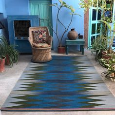 A beautiful new rug design - Zigzag Blue recently photographed in India where they are made