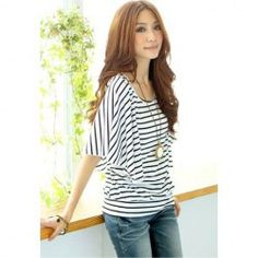 """Awesome """"cheap clothes site"""" Relaxed Stripe Print Lotus Leaf Sleeve T-Shirt For Women Short Outfits, Cute Outfits, Streetwear Shorts, Fashion Pattern, T Shirts For Women, Clothes For Women, Sexy Shirts, Casual Clothes, Winter Clothes"""