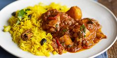 Spice up chicken thighs in a South African curry, packed with flavourful spices and served with a side of sweet, fragrant rice Yellow Rice, Bbc Good Food Recipes, Sugar And Spice, Chicken Thighs, Coriander, The Fresh, Chutney, Spice Things Up, South Africa