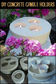 DIY Concrete Candle Holders : Light up Your Yard by Making These Concrete Candle Holders! Light up Your Yard by Making These Concrete Candle Holders! Light up Your Yard by Making These Concrete Candle Holders! Concrete Candle Holders, Diy Concrete Planters, Tealight Candle Holders, Concrete Garden, Candle Making Business, Concrete Crafts, Creation Deco, Light Crafts, Diy Candles