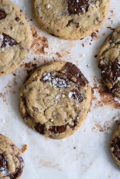 The Perfect Chocolate Chip cookie - lightly salted dough surrounds puddles of dark chocolate, before being finished up with a heavy dose of flaky sea salt.