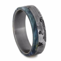 Seymchan Meteorite Wedding Band With Blue Box Elder Burl