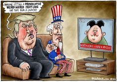 Trump  Sam and Kim, Brian Adcock,The Independent,donald trump, kim jong-un, uncle sam, missile, north korea, election, us election, hair, fruit cake,