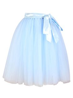 """<p>Cute baby blue midi tulle tutu style skirt. Skirt is approx 70cm long from waist band to bottom. Opaque underskirt coverd in five beautiful layers of soft tulle. Satin, elasticated wasit band with detatchable satin waist band.</p> <p></p> <table class=""""table table-bordered table-condensed""""> <tbody> <tr> <td><strong>Size          </strong></td> <td><strong>Waist in cms</strong></td> </tr> <tr> <td>6</td> <td>62</..."""