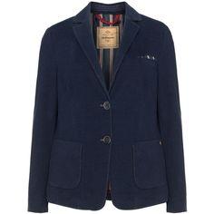 Steilmann Dark-Blue Plus Size Cotton blend jersey blazer ($92) ❤ liked on Polyvore featuring outerwear, jackets, blazers, plus size, collar jacket, plus size fitted blazer, womens plus size blazers, long sleeve blazer and fitted jacket