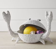 Decor/accessories - Store their playtime toys and essentials in a basket that adds fun design to cleanup time. Our Crab-Shaped Basket is handwoven with water hyacinth leaves for . Kids Storage, Storage Baskets, Shark Bedroom, Octopus Plush, Baby Bedding Sets, Rattan Basket, Bedroom Themes, Bedroom Ideas, Bedroom Decor