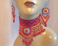 Gorgeous, as it calls to the Gypsy in Me! Seed Bead Necklace, Seed Bead Jewelry, Beaded Earrings, Beaded Jewelry, Native American Beading, Native American Fashion, Native American Jewelry, Sequin Crafts, Brick Stitch Earrings