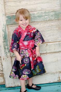 Girls Dress Kimono Style - NILA BOUQUET - Kimono Dress baby toddler girls - Japanese Asian. $53.00, via Etsy.