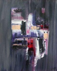 Peinture acrylique moderne gris rose violet : Peintures par stephanie-menard