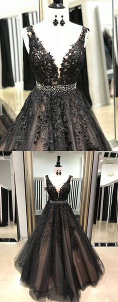 black lace long prom dress, black evening dress, lace formal dress