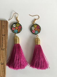Hand painted long earrings Folk traditional Mexican style hand made Mexican jewelry Polymer Clay Earrings, Diy Earrings, Tassel Earrings, Earrings Handmade, Handmade Jewelry, Seed Bead Jewelry, Diy Jewelry, Beaded Jewelry, Jewelry Making