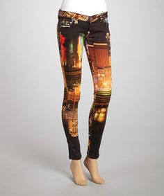 Take a look at this Orange Skyline My BFF Jeggings by Frankie B on #zulily today! $100 !!