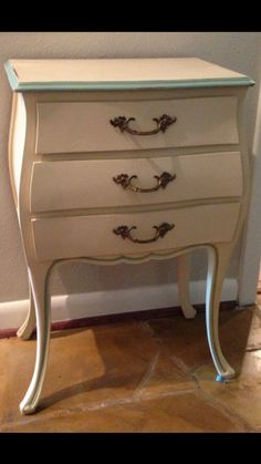 FRENCH SHABBY CHIC Vintage painted end table / night stand Two Whimsies on Etsy, $200.00