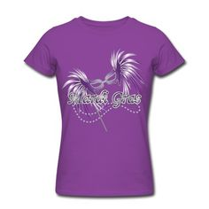 Mardi Gras Shirts for Women | Purple Mardi Gras Mask T-Shirt | Spreadshirt | ID: 5410068