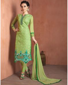 Sea   Green enchanting Embroidered Chanderi Designer Salwar Suits for women(Semi   Stitched)       Fabric:   Chanderi       Work:   Embroidered       Type:   Designer Salwar Suits   for women(Semi Stitched)       Color:   Sea Green                 F