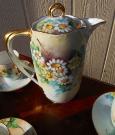 beautiful chocolate pots | BEAUTIFUL AnTiQuE HAND PAINTED BAVARIA CHOCOLATE POT TEA SET / DAISY ...
