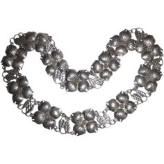 Vintage Taxco Mexico Sterling Silver Statement Necklace