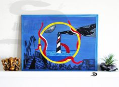Lighthouse Tentacles - Original surreal art painting - Sea Ocean Octopus night moon - Blue yellow black red - shipwreck - home wall decor