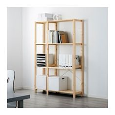 IKEA - IVAR, 2 section shelving unit, Untreated solid pine is a durable natural material that can be painted, oiled or stained according to preference.You can move shelves and adapt spacing to suit your needs.You can personalize the furniture even more by staining or painting it your favorite color.