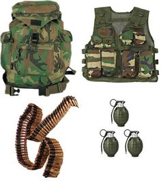 Kids Junior Platoon Recon Set - Woodland Camouflage Set Contains: * Kids Army Woodland Rucksack *Toy Bullet Belt *Kids Woodland Combat Vest Realistic Sounding Grenades. Military Party, Army Party, Military Gear, Airsoft Girls, Top Toys For Boys, Camouflage, Godzilla Birthday Party, Halloween Wishes, Gaming