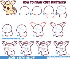 How to Draw Cute / Kawaii / Chibi NineTales from Pokemon in Easy Step by Step Drawing Tutorial for Beginners